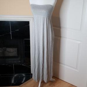 Grey striped strapless sundress